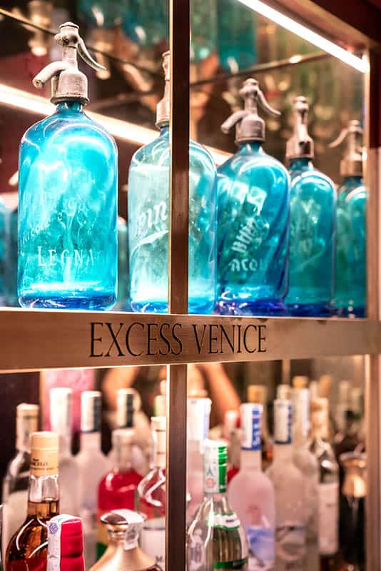 Excess Bar detail of the bottles shelf